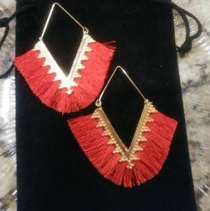 Boho V Shaped Red Tassel Earrings